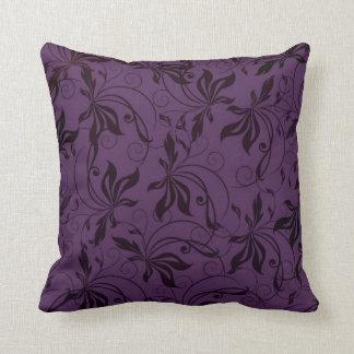 Deep Purple Black Swirl Pillow