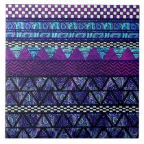 Deep Purple Boho Tribal Stripes Pattern Ceramic Tile