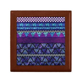 Deep Purple Boho Tribal Stripes Pattern Jewelry Box
