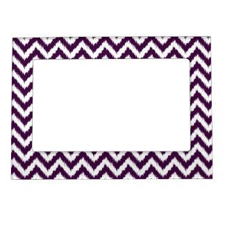 Deep Purple Chevron Ikat Pattern Magnetic Frame