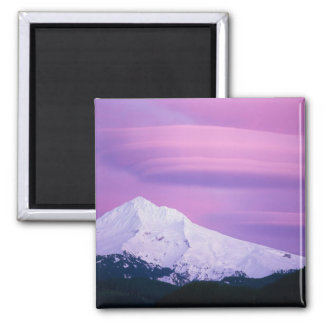 Deep purple clouds surround Mount Hood, in 2 Inch Square Magnet
