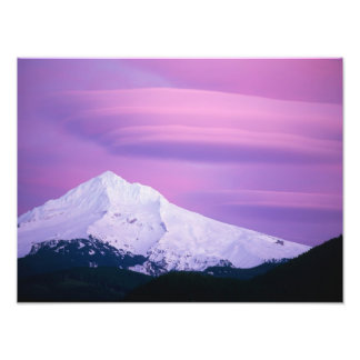 Deep purple clouds surround Mount Hood, in Photograph