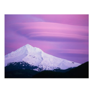 Deep purple clouds surround Mount Hood, in Postcard
