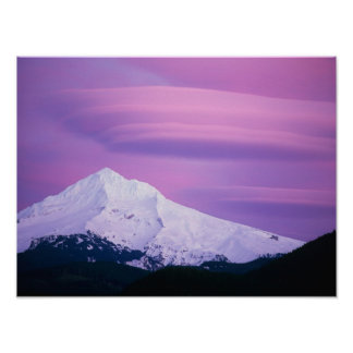 Deep purple clouds surround Mount Hood, in Print