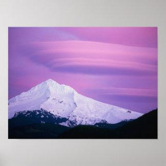 Deep purple clouds surround Mount Hood, in Poster