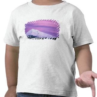 Deep purple clouds surround Mount Hood, in Tee Shirt