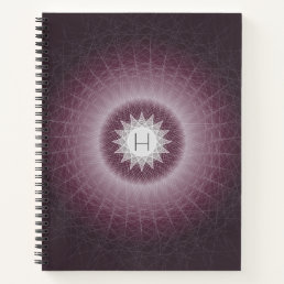 Deep Purple Cool Geometric Monogram Design Notebook