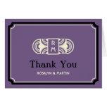 Deep purple deco retro monogram thank you card