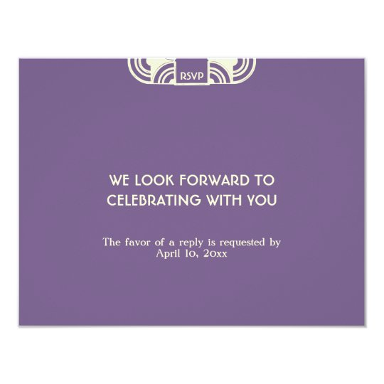 Deep purple deco wedding enclosure RSVP response Card