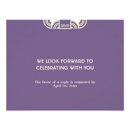 Deep purple deco wedding enclosure RSVP response Personalized Invites