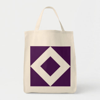 Deep Purple Diamond, Bold White Border Grocery Tote Bag