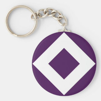 Deep Purple Diamond, Bold White Border Keychain