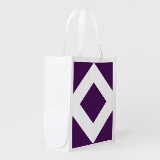 Deep Purple Diamond, Bold White Border Reusable Grocery Bag