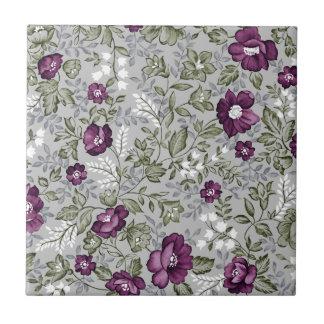 Deep Purple Floral Tile
