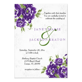 Deep Purple Floral Wedding Invitation