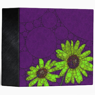 Deep Purple Florescent Sunflowers 3 Ring Binder