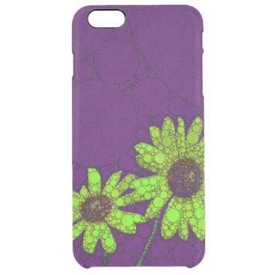 Deep Purple Florescent Sunflowers Clear iPhone 6 Plus Case