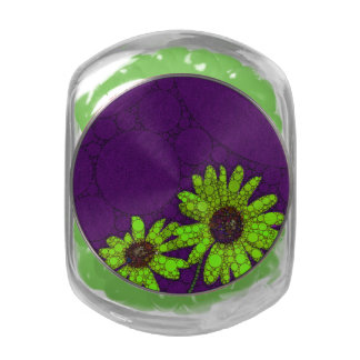 Deep Purple Florescent Sunflowers Jelly Belly Candy Jar