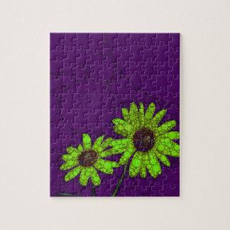 Deep Purple Florescent Sunflowers Jigsaw Puzzle