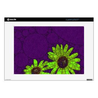 "Deep Purple Florescent Sunflowers Skins For 15"" Laptops"