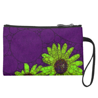 Deep Purple Florescent Sunflowers Suede Wristlet