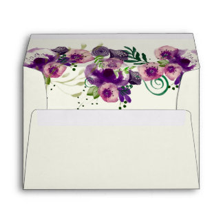 Deep Purple Flowers Wedding Invitations Lined Envelope