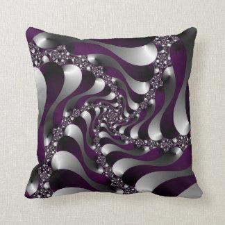 Deep Purple Fractal Spiral Pillows
