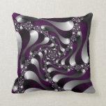Deep Purple Fractal Spiral Throw Pillow