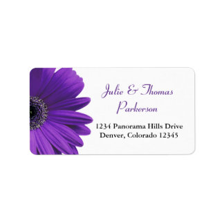 Deep Purple Gerbera Daisy Wedding Address Labels