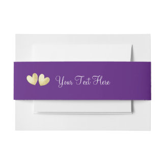 Deep Purple Gold Hearts Elegant Personalized Invitation Belly Band