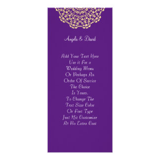 Deep Purple Gold Lacy Pattern Peronalized Rack Card