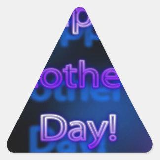 Deep Purple Happy Mother's Day Design Triangle Sticker