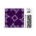 Deep purple hearts tile pattern - love surround postage stamp