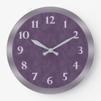 Deep Purple Lavender Gray Large Clock