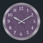 """Deep Purple Lavender Gray Large Clock<br><div class=""""desc"""">Designed with a rich deep textured purple with light lavender numbers and a lavender and gray bezel.  Artwork and design by Karlajkitty</div>"""