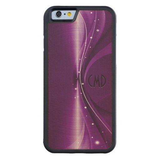Deep Purple Metallic Retro Dynamic Wave Carved® Maple iPhone 6 Bumper Case
