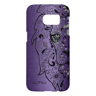 Deep Purple Metallic Texture Lion Sugar Skul Samsung Galaxy S7 Case