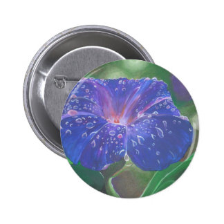Deep Purple Morning Glory With Morning Dew Pinback Button