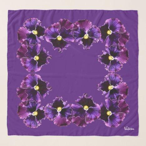 Deep Purple Pansies Square Chiffon Scarf