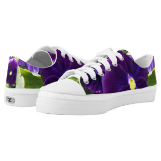 Deep Purple Pansy, Ladies Zipz Sneakers. Low-Top Sneakers