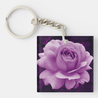 Deep Purple Rose Keychain