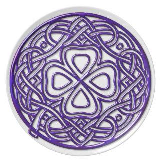Deep Purple Shamrock Melamine Plate