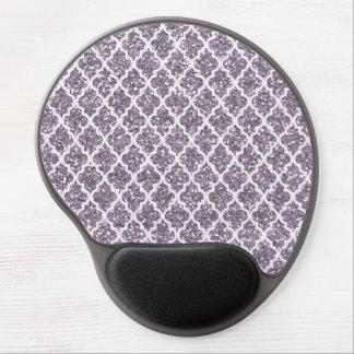 Deep Purple Sparkly Quatrefoil Gel Mouse Pads