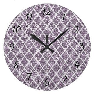 Deep Purple Sparkly Quatrefoil Large Clock