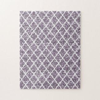 Deep Purple Sparkly Quatrefoil Puzzles