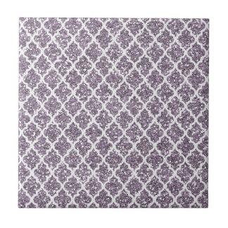 Deep Purple Sparkly Quatrefoil Small Square Tile