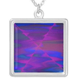 Deep purple square pendant necklace