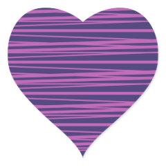 Deep Purple Stripes Pattern Gifts Heart Stickers