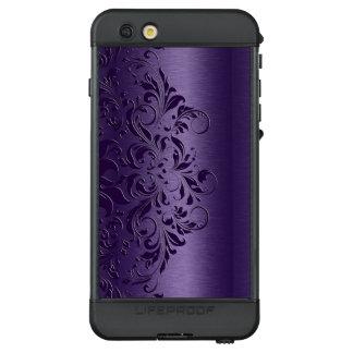 Deep Purple Swirls On Metallic Texture LifeProof® NÜÜD® iPhone 6s Plus Case