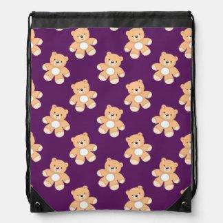 Deep Purple Teddy Bear, Bears Drawstring Bag